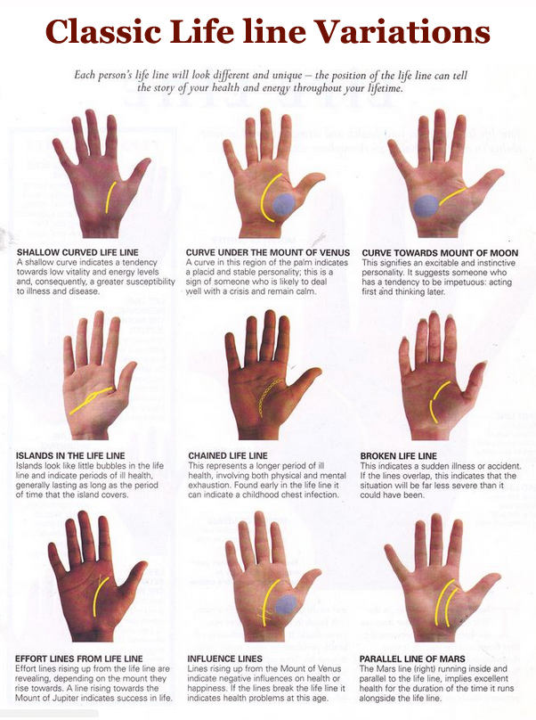 Palm reading life line: 9 variations!